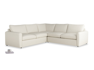 Even Sided  Chatnap modular corner storage sofa in Chalky White Clever Softie with both arms