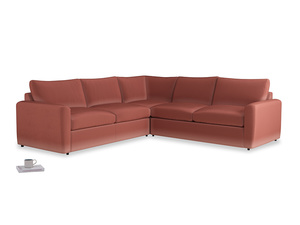 Even Sided  Chatnap modular corner storage sofa in Dusty Cinnamon Clever Velvet with both arms