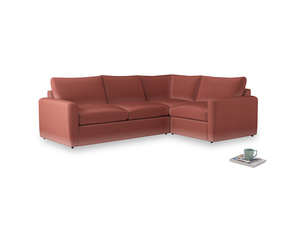 Large right hand Chatnap modular corner storage sofa in Dusty Cinnamon Clever Velvet with both arms