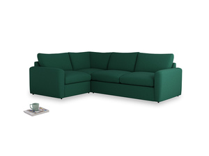 Large left hand Chatnap modular corner storage sofa in Cypress Green Vintage Linen with both arms