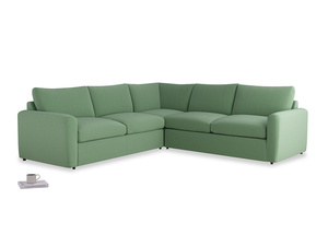 Even Sided  Chatnap modular corner storage sofa in Thyme Green Vintage Linen with both arms