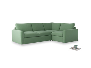 Large right hand Chatnap modular corner storage sofa in Thyme Green Vintage Linen with both arms