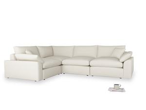Large left hand Cuddlemuffin Modular Corner Sofa in Chalky White Clever Softie