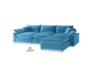 Large right hand  Cuddlemuffin Modular Chaise Sofa in Teal Blue plush velvet
