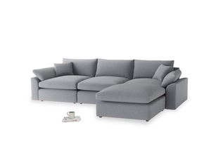 Large right hand  Cuddlemuffin Modular Chaise Sofa in Dove grey wool