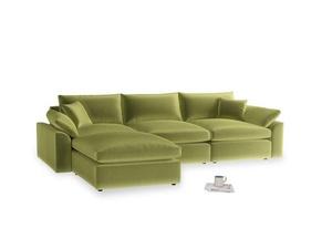 Large left hand Cuddlemuffin Modular Chaise Sofa in Olive plush velvet
