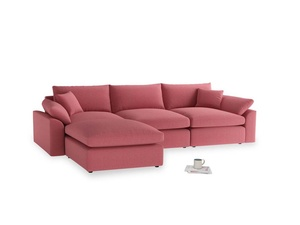 Large left hand Cuddlemuffin Modular Chaise Sofa in Raspberry brushed cotton