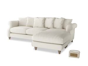 XL Right Hand  Sloucher Chaise Sofa in Chalky White Clever Softie