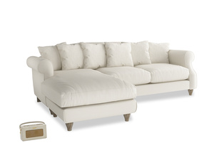 XL Left Hand  Sloucher Chaise Sofa in Chalky White Clever Softie