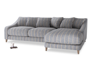 XL Right Hand  Oscar Chaise Sofa in Brittany Blue french stripe