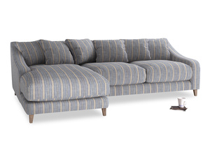 XL Left Hand  Oscar Chaise Sofa in Brittany Blue french stripe