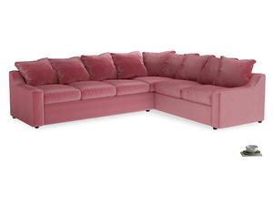 XL Right Hand Cloud Corner Sofa Bed in Blushed pink vintage velvet