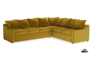 XL Right Hand Cloud Corner Sofa Bed in Burnt yellow vintage velvet