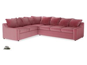 XL Left Hand Cloud Corner Sofa Bed in Blushed pink vintage velvet