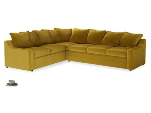 XL Left Hand Cloud Corner Sofa Bed in Burnt yellow vintage velvet