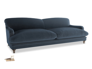 Extra large Pudding Sofa in Liquorice Blue clever velvet