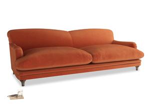 Extra large Pudding Sofa in Old Orange Clever Deep Velvet
