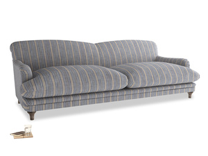 Extra large Pudding Sofa in Brittany Blue french stripe