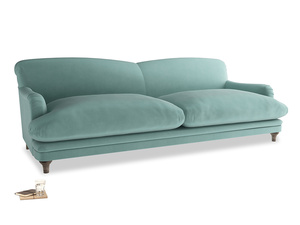 Extra large Pudding Sofa in Greeny Blue Clever Deep Velvet
