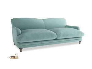 Large Pudding Sofa in Greeny Blue Clever Deep Velvet