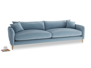 Extra large Squishmeister Sofa in Chalky blue vintage velvet