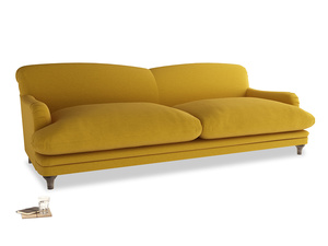 Extra large Pudding Sofa in Yellow Ochre Vintage Linen