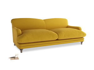 Large Pudding Sofa in Yellow Ochre Vintage Linen