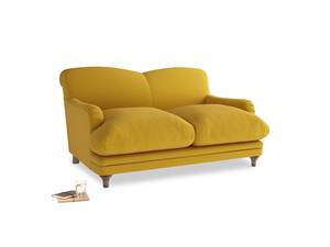 Small Pudding Sofa in Yellow Ochre Vintage Linen