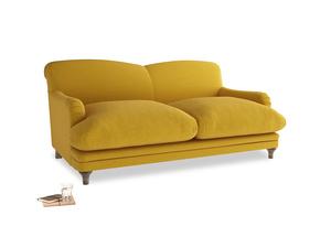 Medium Pudding Sofa in Yellow Ochre Vintage Linen