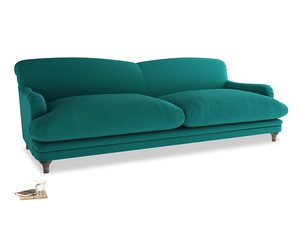Extra large Pudding Sofa in Indian green Brushed Cotton