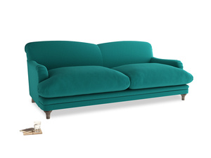 Large Pudding Sofa in Indian green Brushed Cotton
