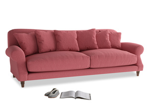 Extra large Crumpet Sofa in Raspberry brushed cotton