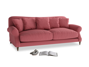 Large Crumpet Sofa in Raspberry brushed cotton