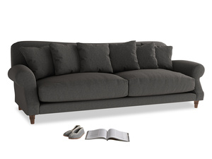 Extra large Crumpet Sofa in Old Charcoal brushed cotton