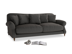 Large Crumpet Sofa in Old Charcoal brushed cotton