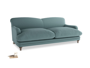 Large Pudding Sofa in Marine washed cotton linen