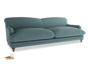 Extra large Pudding Sofa in Marine washed cotton linen