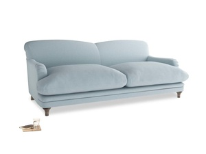 Large Pudding Sofa in Soothing blue washed cotton linen