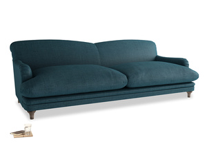 Extra large Pudding Sofa in Harbour Blue Vintage Linen