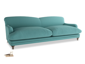 Extra large Pudding Sofa in Peacock brushed cotton