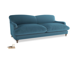 Large Pudding Sofa in Old blue Clever Deep Velvet