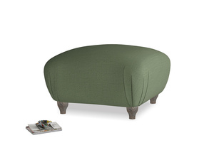 Small Square Homebody Footstool in Forest Green Clever Linen