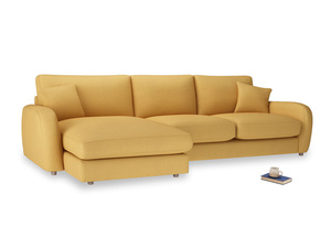 XL Left Hand  Easy Squeeze Chaise Sofa in Dorset Yellow Clever Linen