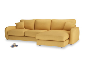 XL Right Hand  Easy Squeeze Chaise Sofa in Dorset Yellow Clever Linen