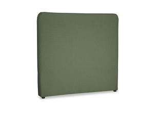 Double Ruffle Headboard in Forest Green Clever Linen