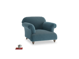Soufflé Armchair in Lovely Blue Clever Cord
