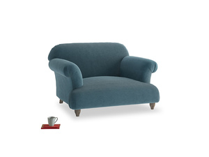 Soufflé Love seat in Lovely Blue Clever Cord