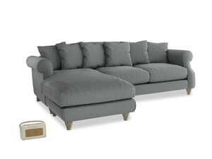 XL Left Hand  Sloucher Chaise Sofa in Cornish Grey Bamboo Softie