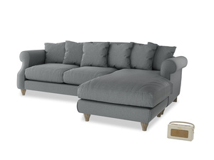XL Right Hand  Sloucher Chaise Sofa in Cornish Grey Bamboo Softie