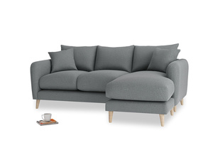 Large right hand Squishmeister Chaise Sofa in Cornish Grey Bamboo Softie